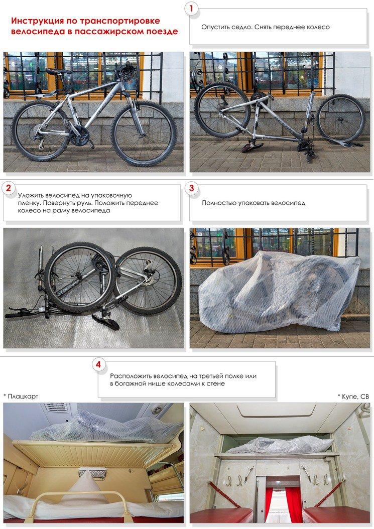 Инструкция по размещению велосипедов в плацкартных вагонах, вагонах купе
